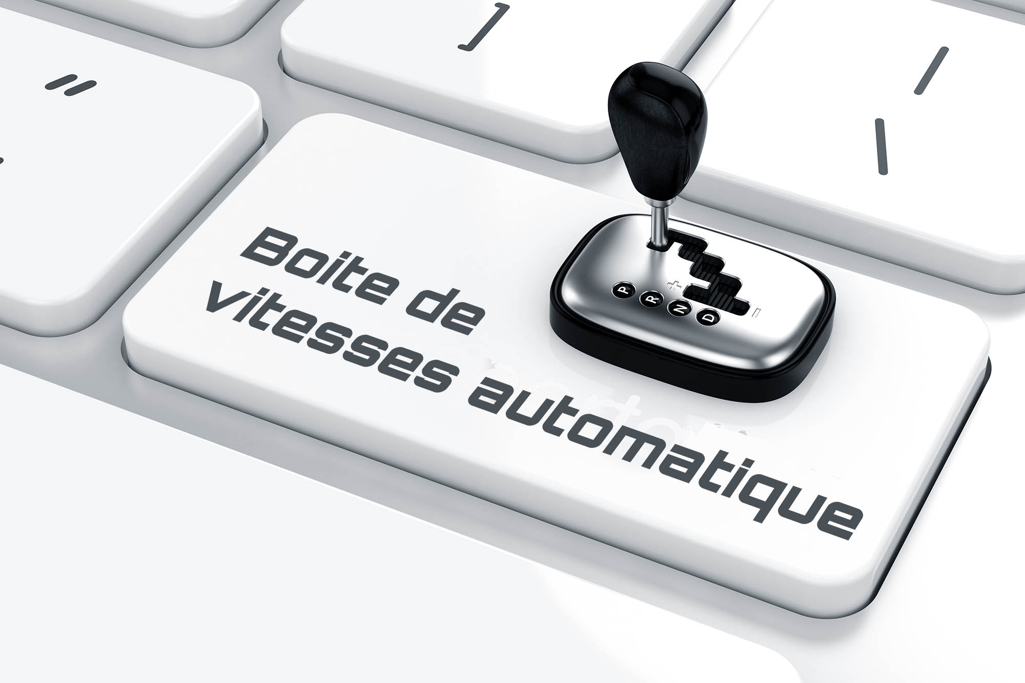 Automatic car shift gear on the keyboard. Transportation concept